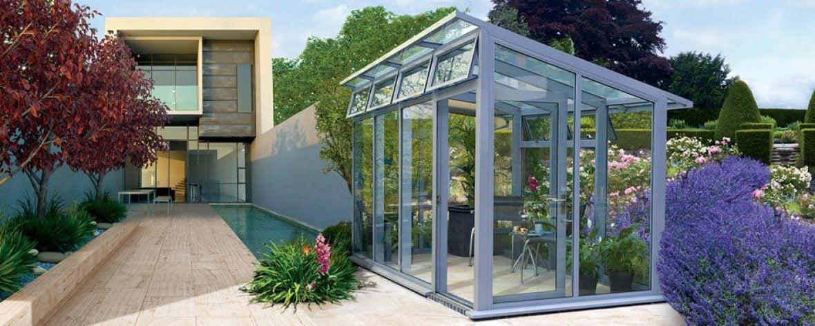Modern glasshouse from the Hartley Botanic Opus range