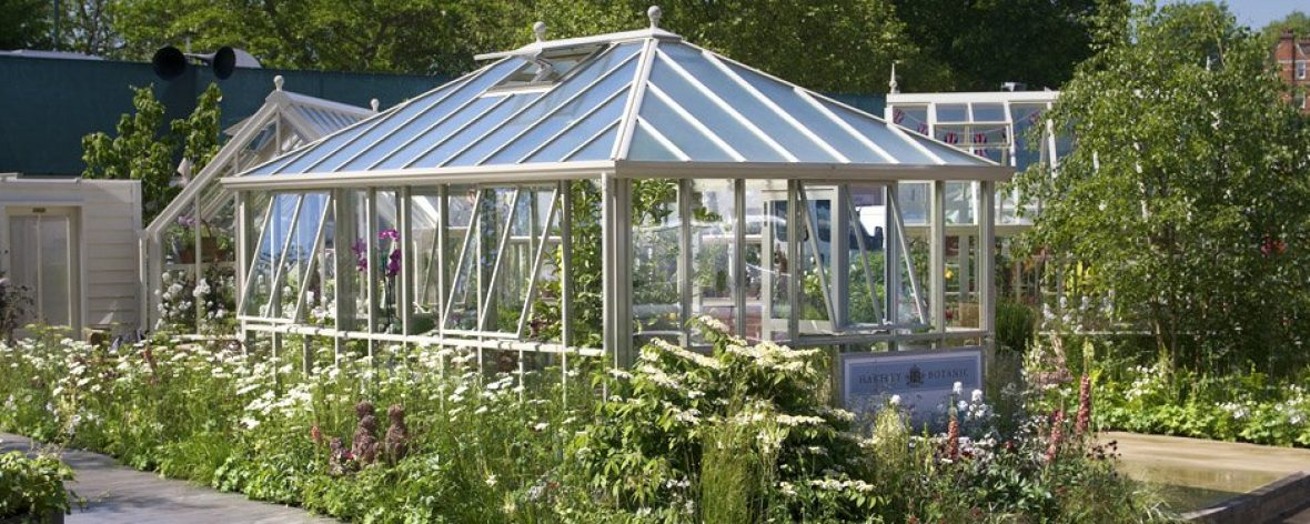 A White Hartley Botanic Westminster Greenhouse in a Garden